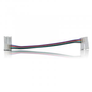 Złączka do taśm LED z kablem | RGB | dwustronna | IP20 | biała | 5 szt | 2 x zatrzask 10mm / 4 ścieżki | 15 cm