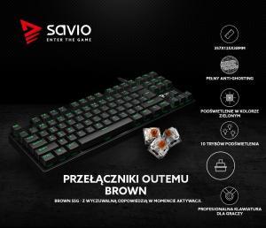 Mechaniczna klawiatura gamingowa Savio Tempest RX Outemu Brown, LED zielony, NKRO, Anty-ghosting