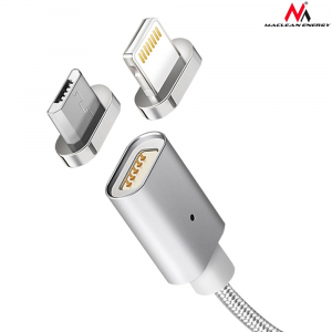 Kabel micro USB magnetyczny silver MCE160 - Quick & Fast Charge