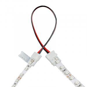 Złączka do taśm LED z kablem | jednokolorowy | dwustronna | IP20 | biała | 5 szt | 2 x zatrzask 8mm / 2 ścieżki | 15 cm