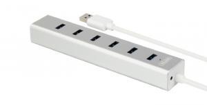 HUB 7 x USB3.0 ALUMINIUM Z ZASILACZEM; Y-3090