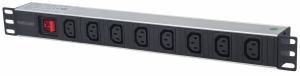 Listwa zasilająca rack 19 1U 110V-250V/10A 8 gniazd C13 kabel 2m