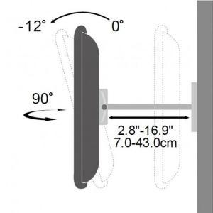 Uchwyt ścienny LCD/LED 42-70cali regulowany, 70kg, czarny