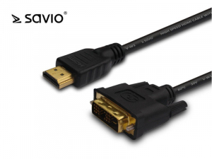 Kabel HDMI SAVIO CL-139 HDMI AM 19pin - DVI-D M 18+1 4Kx2K 1,8m
