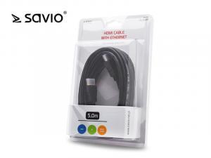 Kabel HDMI CL-08M blister, złote końcówki v1.4 3D, 4Kx2K, 5m
