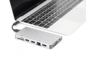 Stacja dokująca podróżna USB Typ C, 8 portów 4K, HDMI, VGA, USB3.0, RJ45, microSD, SD/MMC, srebrna