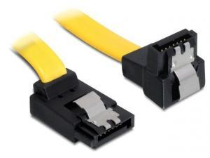 Kabel SATA III 6Gb/s 50cm kątowy góra/dół (metalowe zatrzaski) żółty
