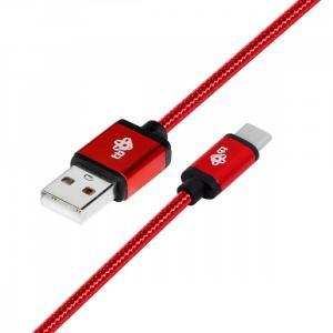 Kabel USB-USB C 1.5m rubinowy sznurek