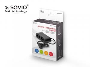 Rozdzielacz zapalniczki z 2x gniazdem USB Savio 12/24V SA-024