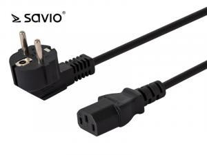 Kabel zasilający SAVIO CL-98 C13/ C/F Schuko kątowy 1,8m