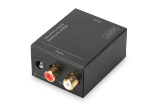 Konwerter sygnału Audio 1xCoax/Toslink do 2xRCA (Stereo)