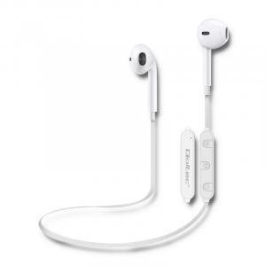 Słuchawki sportowe BT bezprzewodowe, dokanałowe, mikrofon, białe
