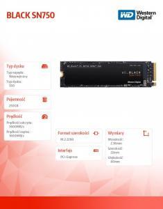 Black SSD 250GB SN750 PCIe M.2 NVMe WDS250G3X0C