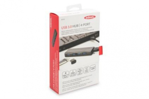 HUB/Koncentrator 4-portowy USB 3.0 SuperSpeed, aktywny, czarny