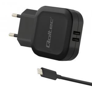 Ładowarka sieciowa 17W | 5V | 3.4A | 2xUSB + kabel USB typC