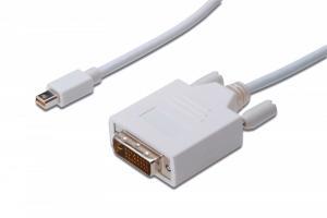 Kabel adapter Displayport 1080p 60Hz FHD Typ miniDP/DVI-D (24+1) M/M biały 1m