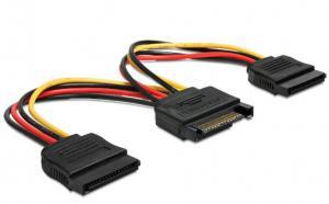 Kabel SATA zasilający(M)->2xSATA(F) 15cm