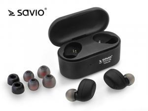 Słuchawki bezprzewodowe Savio TWS-04 BT 5.0 z mikrofonem i powerbankiem