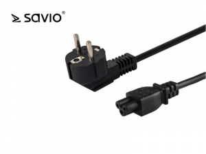 Przewód zasilający do laptopa koniczynka SAVIO CL-67 1,2m, wielopak 10 szt., 3pin
