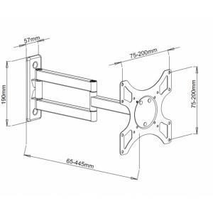 Uchwyt ścienny LCD/LED 19-37cali podwójne ramię, 25kg, czarny