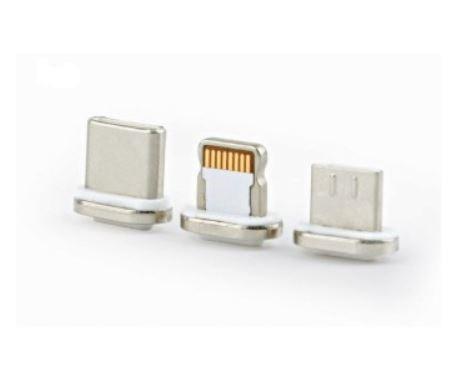 Kabel USB magnetyczny 3w1/1m/srebrny