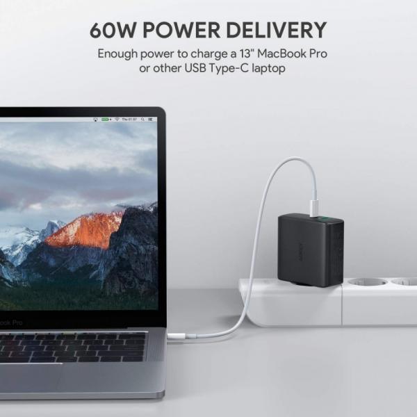 PA-D3 Ultraszybka ładowarka sieciowa 2xUSB Power Delivery (1xUSB A+1xUSB C) 60W 5.4A