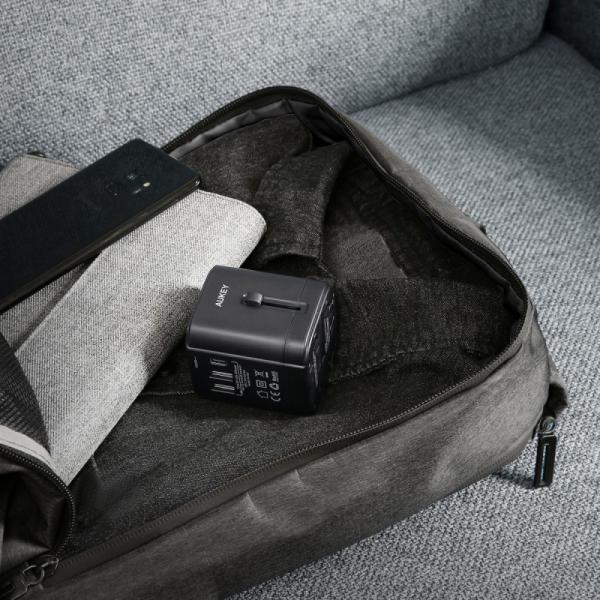PA-TA01 Black uniwersalny podróżny adapter sieciowy 2xUSB+1xUSB C | 7.8A | pasuje w 150 krajach