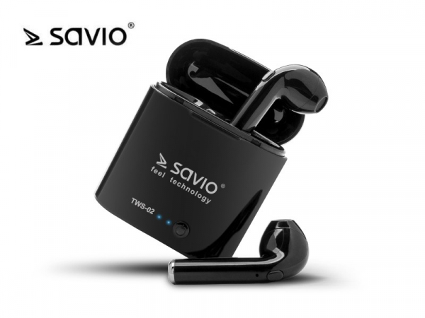 Słuchawki bezprzewodowe Savio TWS-02 BT 5.0 z mikrofonem i power bankiem