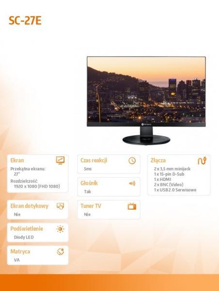 Monitor SC-27E CZARNY LED VA FHD HDMI VGA BNC 24/7 GŁOŚNIK