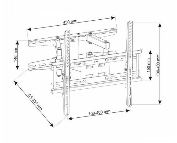 Uchwyt do telewizora 23-60 LED/LCD 45kg UX150 regulowany pion/poziom