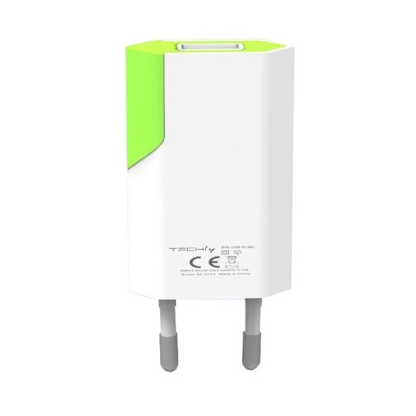 Ładowarka sieciowa slim USB 230V-5V 1A biało-zielona