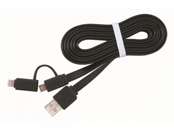 Kabel USB AM->Micro-BM/ Lightning Apple 1m